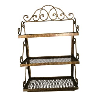 1960s Hollywood Regency Gold / Bronze 3 Tiered Hanging Shelf With Towel Bar For Sale