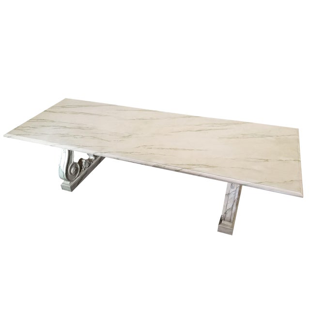 Vintage Faux Marble Grecian Dining Table For Sale