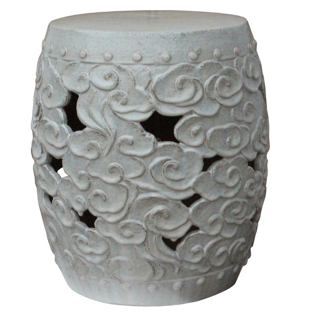Ceramic Clay Off White Glaze Round Scroll Pattern Garden Stool For Sale In San Francisco - Image 6 of 8