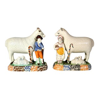 Prattware Pair of Sheep and Shepherd and Shepherdess, Yorkshire For Sale
