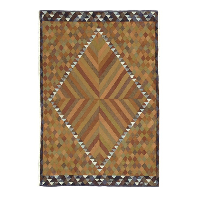 """Mid 20th Century Swedish Flat Weave Rug - 5'9"""" X 8'4"""" For Sale"""