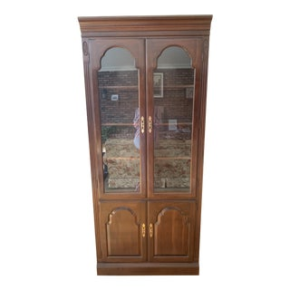 Ethan Allen Cherry Wood Display Cabinet For Sale
