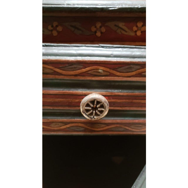 1990s Moroccan Hand Painted Wooden Nightstand For Sale - Image 4 of 7
