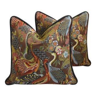 "Designer Embroidered Chinoiserie Crane Feather/Down Pillows 26"" Square - Pair"