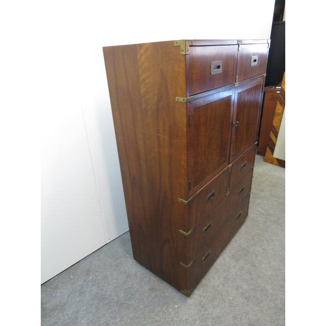 Wood Mid Century Modern Fruitwood Campaign Chest of Drawers For Sale - Image 7 of 9