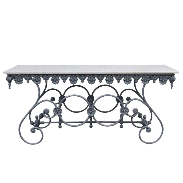 20th Century Italian Cast Iron and Carrara Marble Butcher Table For Sale