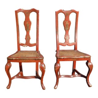 Vintage French Chinoiserie Hand Painted Red Accent Chairs- A Pair For Sale