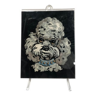 Painting of a Poodle on Velvet, in Original Acrylic Easel Frame For Sale