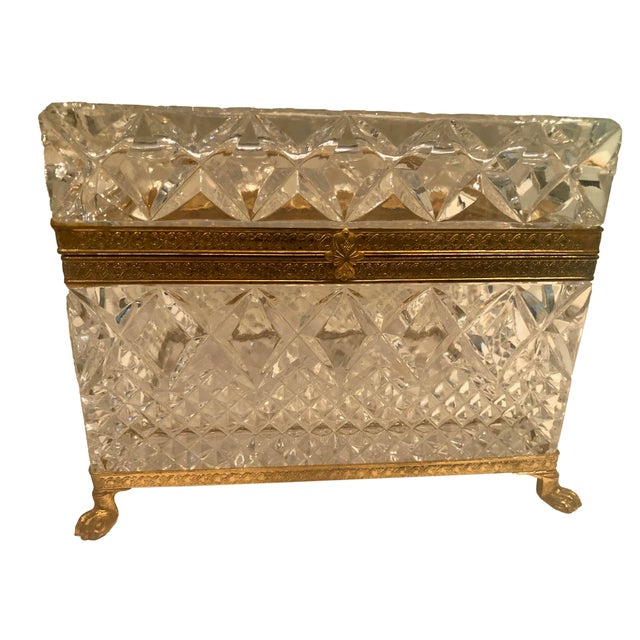 Mid-Century French Large Crystal Box For Sale - Image 4 of 10