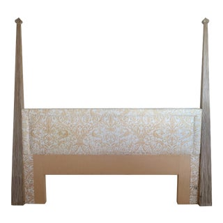 Tommi Parzinger Cerused Headboard W/ Fortuny Fabric, King Size For Sale