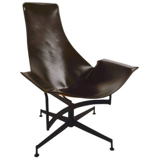 William Katavolos for Leathercrafter Leather Swivel Sling Chair For Sale
