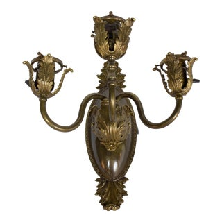 Three Light Restored Antique Bronze Sconces With Acanthus Leaves, Four Available For Sale