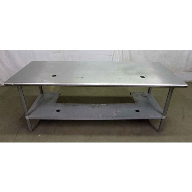 Silver Stainless Steel Industrial Table With Shelf For Sale - Image 8 of 10