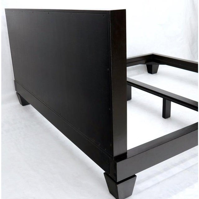 Large Massive King Size Black Lacquer Cerused Oak Bed Headboard For Sale - Image 6 of 13