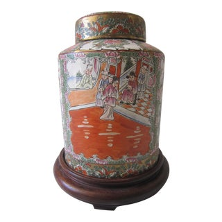 Chinoiserie Ginger Jar, With Stand
