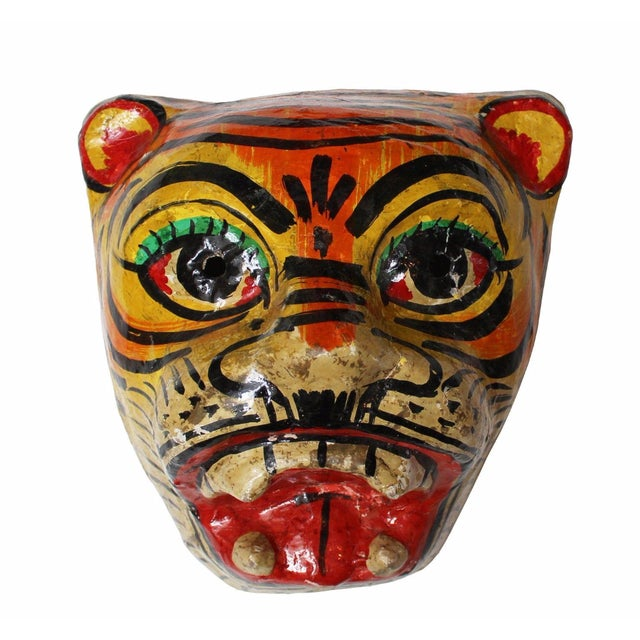 Paper Mache Tiger Mask - Image 1 of 4