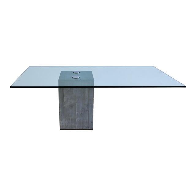 1970s Sergio & Giorgio Saporiti Concrete and Glass Dining Table For Sale