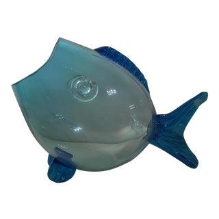 Huge Mid Century Turquoise Blenko Fish