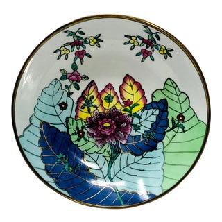 Vintage Tobacco Leaf Porcelain & Brass Catchall Decorative Bowl For Sale