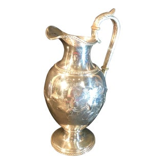 Antique Victorian Silver Plated Wine Ewer, Water Pitcher, Beverage Ice Tea Pot Etched Hand Made Vintage For Sale