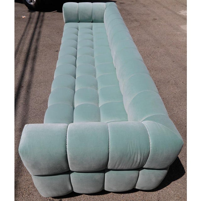 Adesso Imports Custom Tufted Aqua Blue Velvet Sofa With Brass Base For Sale In Los Angeles - Image 6 of 7