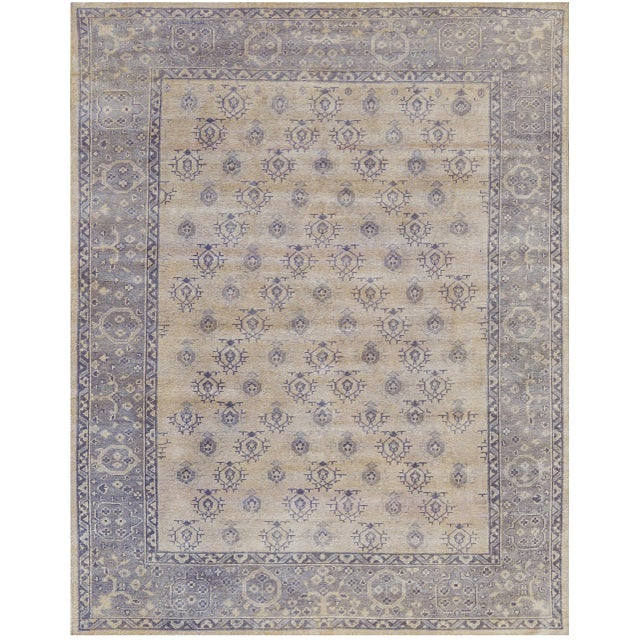 Masterfully woven in Kashmir, this beautiful brand new rug features an amzing texture and soothing gold color field. 100%...