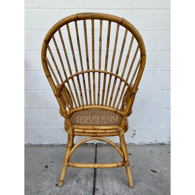 Vintage Rattan Fan Back Chairs- Set of 8 For Sale In Tampa - Image 6 of 13