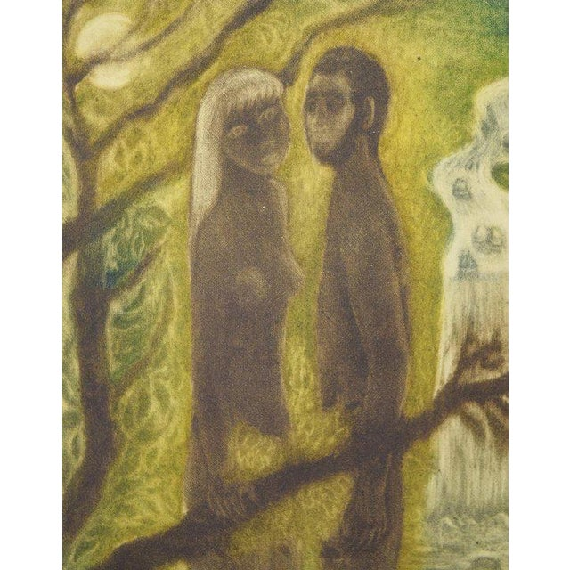 Figurative 1950s Mario Reyes Nude Man and Woman in Nature Aquatint Etching For Sale - Image 3 of 8
