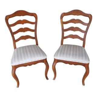 Pair Ethan Allen Country French Ladder Back Chairs 26-6310 Finish 236