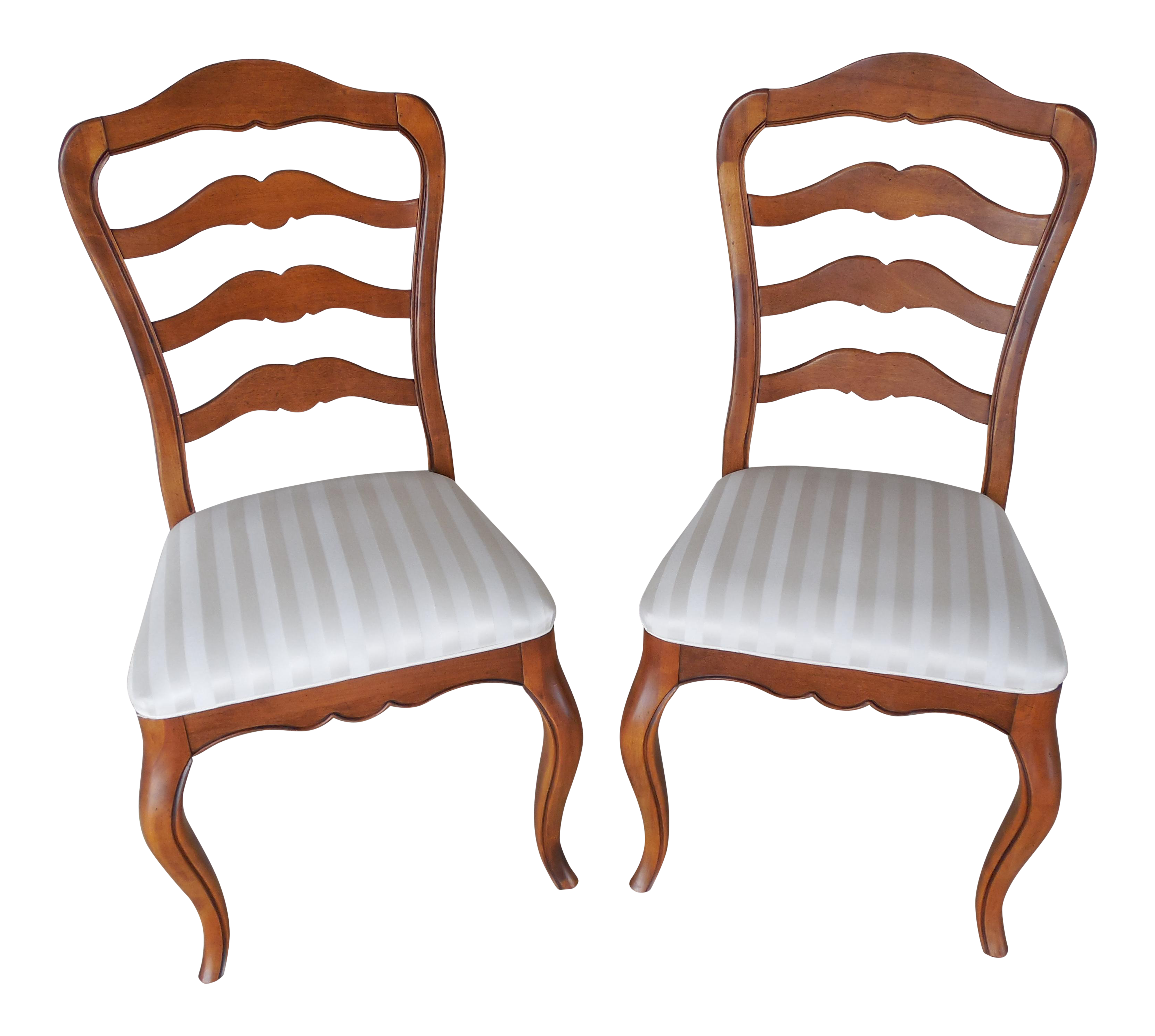 Pair Ethan Allen Country French Ladder Back Chairs 26 6310 Finish 236