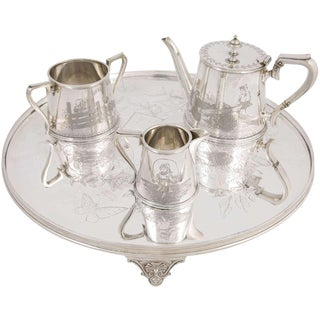 Three-Piece Child's Tea Set and Tray For Sale
