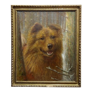 Richard S. Moseley 19th Century Portrait of a Chow Chow Dog - Oil Painting For Sale