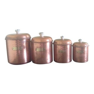 Vintage Copper & Brass Canisters - Set of 4 For Sale
