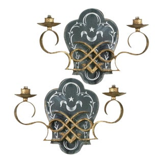 1920s Antique Two Light Gilded Iron Mirrored Sconces - a Pair For Sale