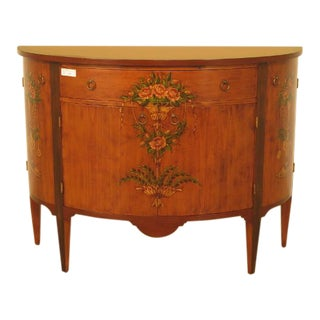 Decorative Crafts Paint Decorated 1/2 Round Commode
