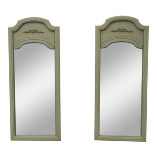 French Distressed Painted Pair of Wall Bathroom Vanity Mirrors by Dixie For Sale