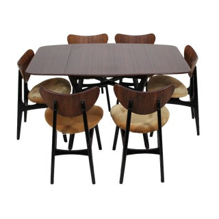 Mid Century Tola Wood Dining Set With 6 Chairs For Sale