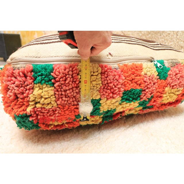 Moroccan Colorful Unstuffed Pouf Cover For Sale - Image 10 of 11