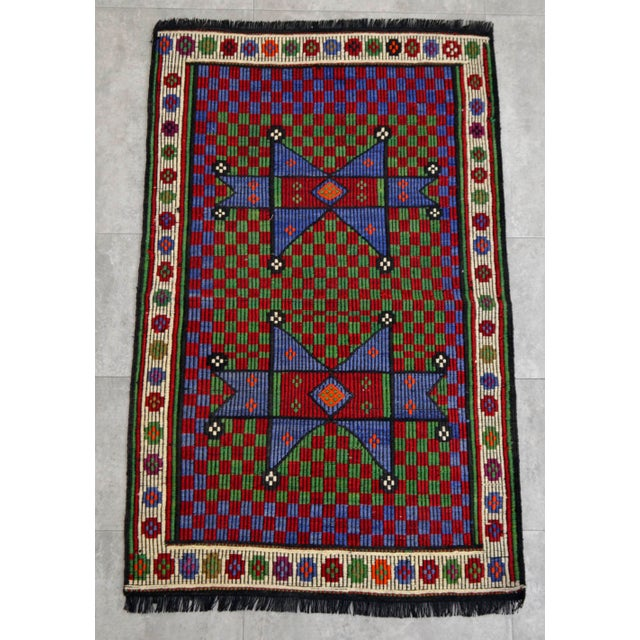 Material : Wool on cotton Condition: Used. In Excellent condition Origin: Mut Age: About 40-50 years old Weight: ~ 3.1 lbs...