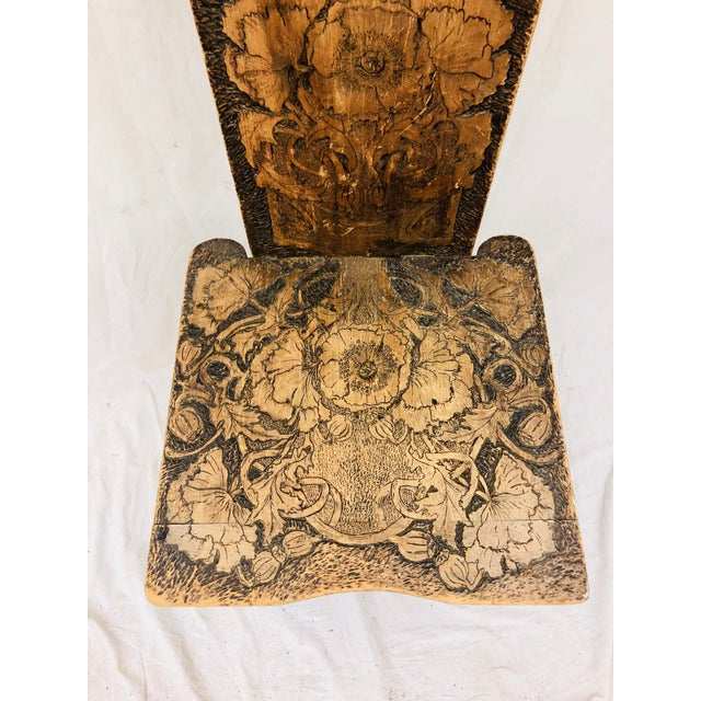 Adirondack Antique Arts & Crafts Hand Carved Chair For Sale - Image 3 of 9