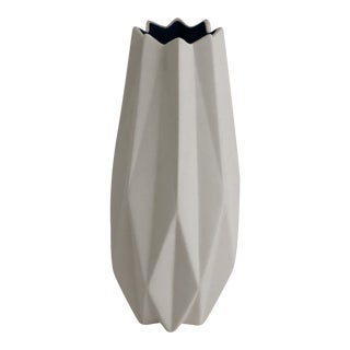 Fluted Matte White & Blue Vase For Sale