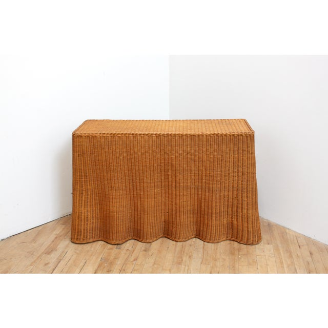 Vintage Trompe l'Oeil Wicker Draped Console Table For Sale - Image 11 of 11