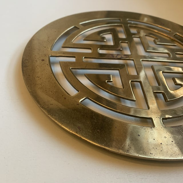 Mid 20th Century Mid 20th Century Large Chinoiserie Brass Trivet For Sale - Image 5 of 7
