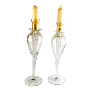 Large 1970's Murano Glass Candlesticks Clear Gold - a Pair For Sale