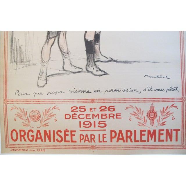 """1915 Original French War Poster - """"Journée Du Poilu, Pour Que Papa Vienne en Permission"""" - Poulbot For Sale - Image 4 of 5"""