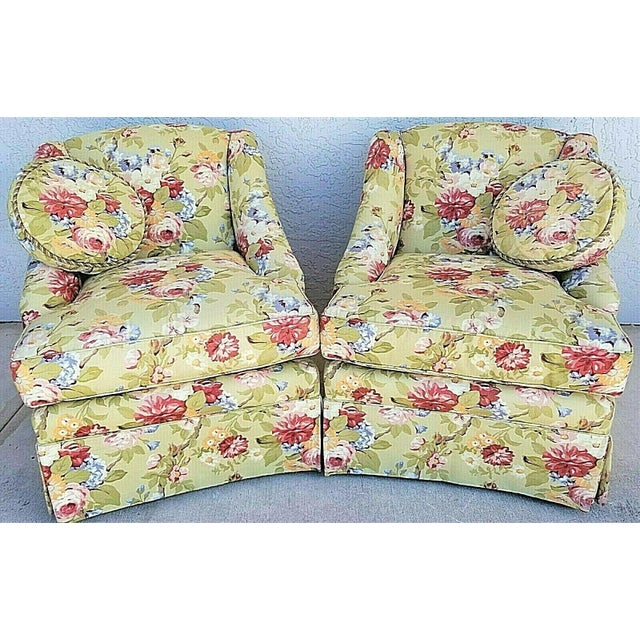 Pair of lovely Century Furniture Company floral tropical upholstered skirted club chairs with 2 matching throw pillows....