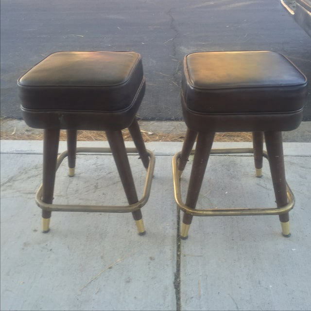 Vintage MCM Bar Stools With Brass Feet - Pair - Image 4 of 4