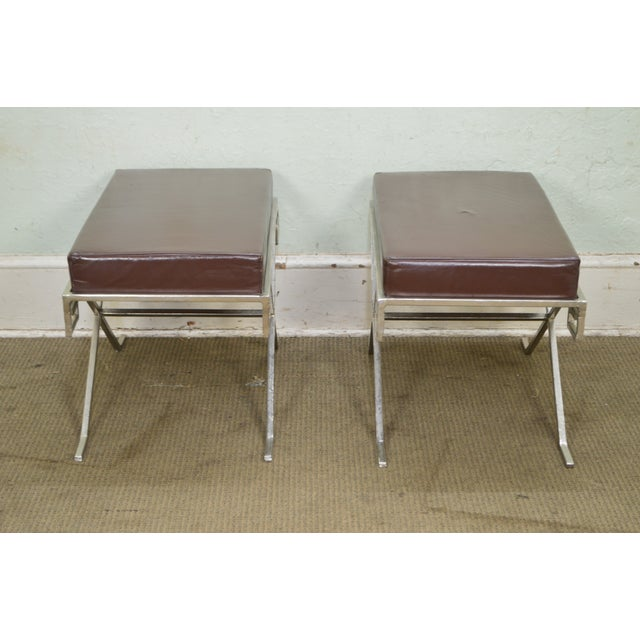 Hollywood Regency Greek Key Silver X Benches - A Pair For Sale - Image 12 of 13