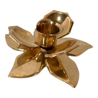 Vintage Brass Figural Flower Candle Holder For Sale