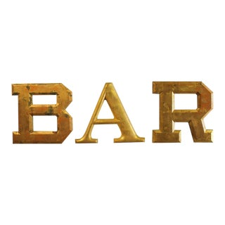 "1930s Gold Leaf Wood ""Bar"" Letters - Set of 3"